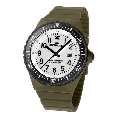 FORTIS COLORS UNISEX olive silicone strap C06 - white dial