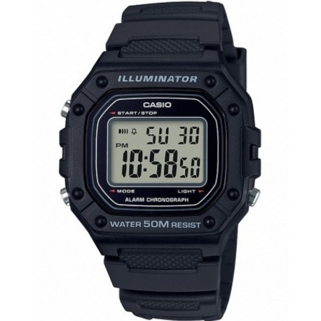 CASIO COLLECTION MULTIFUNCTION black rubber strap W-218H-1AVEF