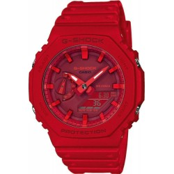 CASIO G-SHOCK CHRONOGRAPH red rubber strap GA-2100-4ΑΕR