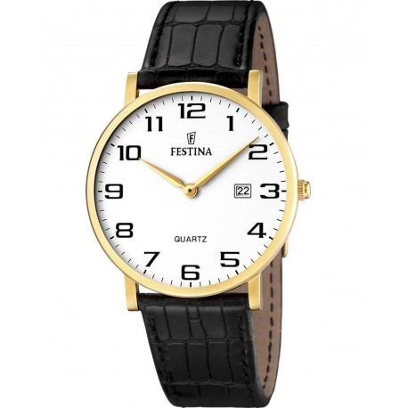FESTINA CLASSIC Gold black leather strap F16478/1