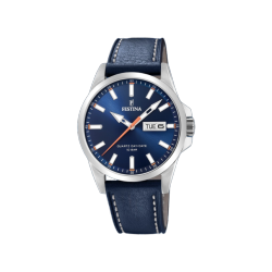 FESTINA CLASSIC DAY-DATE blue leather strap F20358/3