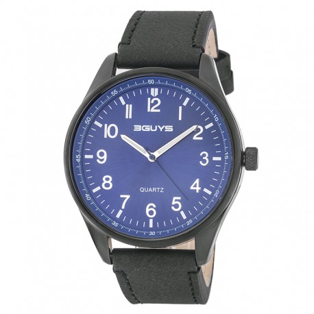 3GUYS BLUE DIAL black leather strap 3GW54002