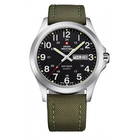 SWISS MILITARY by CHRONO Mens DAY-DATE Khaki leather strap SMP36040.05