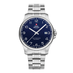 SWISS MILITARY by CHRONO Mens Classic Blue dial - stainless steel bracelet SM30200.18