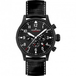 JACQUES LEMANS PILOT CHRONOGRAPH black leather strap