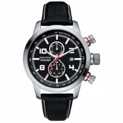 NAUTICA chronograph black leather strap A18546G