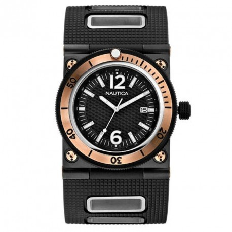NAUTICA rose gold case rubber strap A23511G