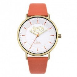 SUPERDRY OXFORD PASTEL POP coral leather strap SYL109OG