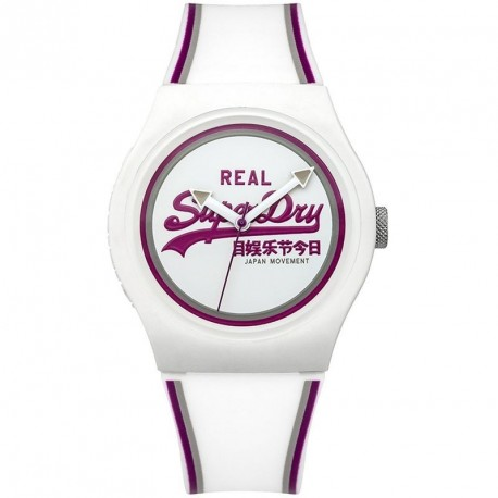 SUPERDRY URBAΝ white rubber strap