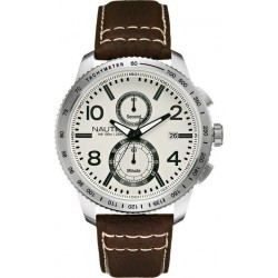 NAUTICA NCT 900 chronograph brown leather strap A19577G