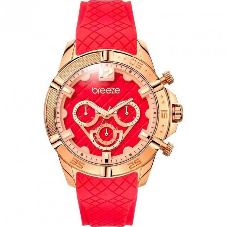 ΓΥΝΑΙΚΕΙΟ ΡΟΛΟΪ BREEZE WANDERLUST red rubber strap 110581.4