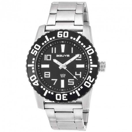 3GUYS BLACK DIAL stainless steel bracelet