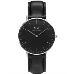 DANIEL WELLINGTON CLASSIC BLACK SHEFFIELD black leather strap DW00100145