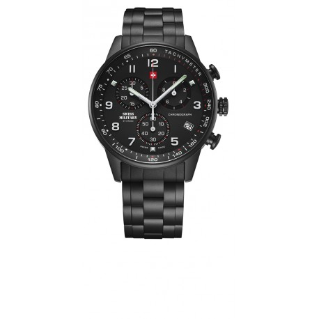 SWISS MILITARY by CHRONO Mens black stainless steel bracelet