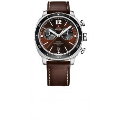 SWISS MILITARY by CHRONO Mens Chronograph brown leather strap