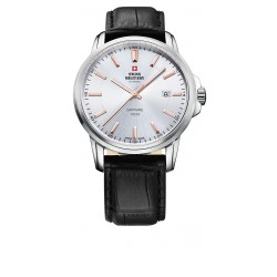 SWISS MILITARY by CHRONO Mens Black laeher strap