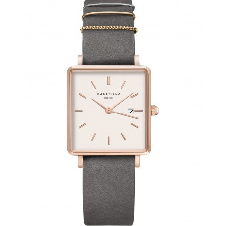 ROSEFIELD THE BOXY Grey leather strap Rosegold QWGR-Q12