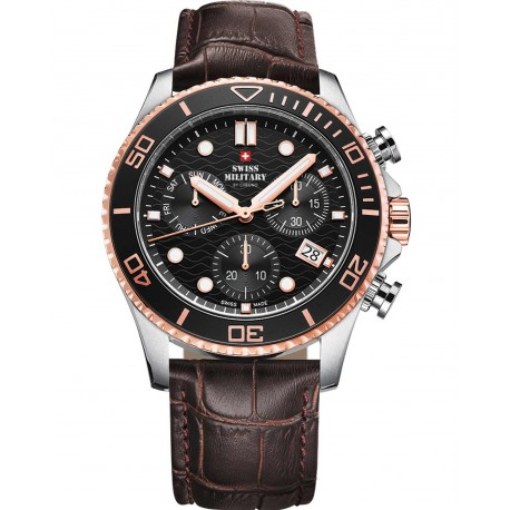 SWISS MILITARY by CHRONO Mens Chronograph brown leather strap SM34051.05