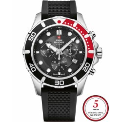 SWISS MILITARY by CHRONO Mens chronograph black silicone strap