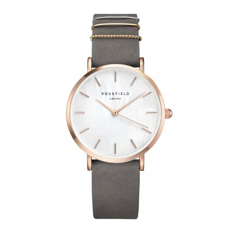 ROSEFIELD THE WEST VILLAGE Grey leather strap WEGR-W75