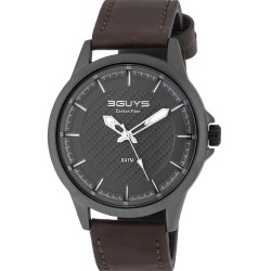 3GUYS CARBON DIAL brown leather strap 3G19006