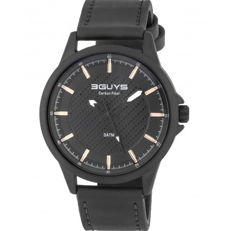 3GUYS CARBON DIAL black leather strap 3G19007